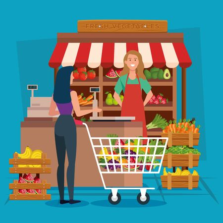 seller woman and client design, shop store market shopping commerce retail buy and paying theme Vector illustration Ilustrace