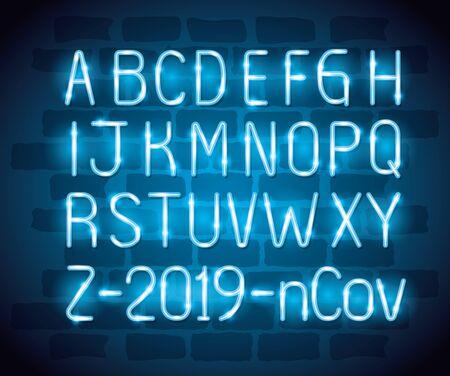 alphabet with 2019 ncov of neon light vector illustration design