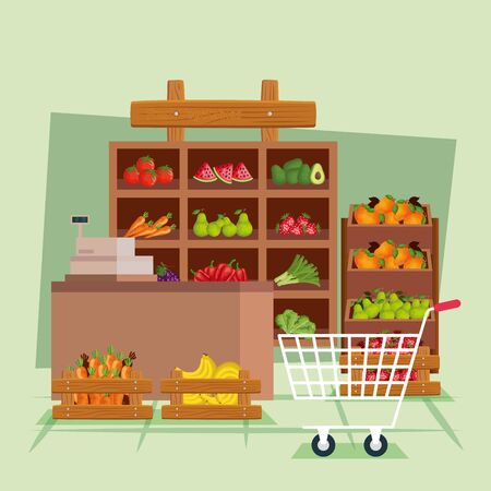 Fruits and vegetables shop design, Store market shopping commerce retail buy and paying theme Vector illustration