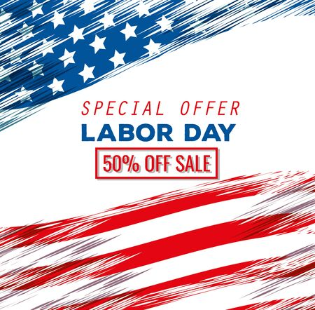 poster of usa flag decoration tradition to labor day celebration, vector illustration