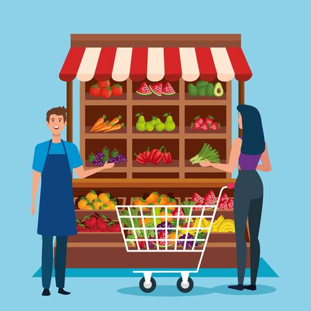 salesman and woman costumer with shoppin car and healthy products over blue background, vector illustration