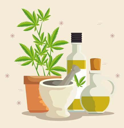 nature cannabis plants oil in the bottles and stone grinding crusher vector illustration