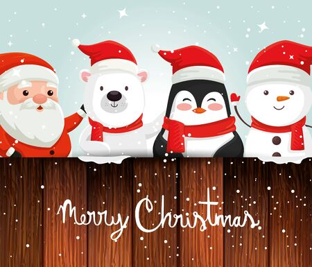 card with characters christmas and decoration vector illustration design