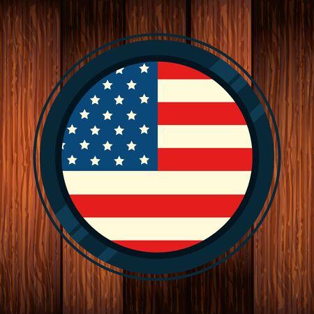 united states flag in frame circular with wooden background vector illustration design Иллюстрация