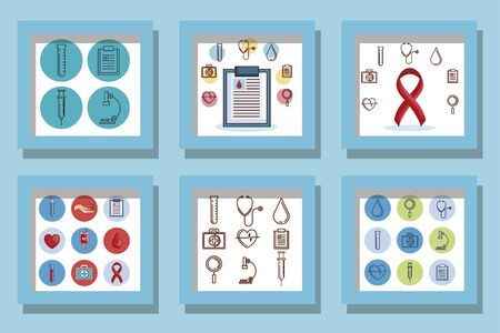 bundle of designs blood donation and icons vector illustration design