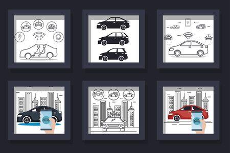 bundle of designs cars smart vector illustration design