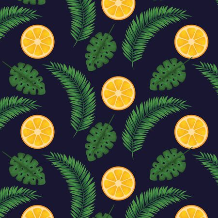 oranges fruits with leaves plants background to summer banner vector illustration