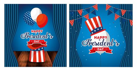 Hats and balloons design, Usa happy presidents day united states america independence nation us country and national theme Vector illustration Иллюстрация