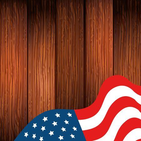 united states flag in background wooden vector illustration design