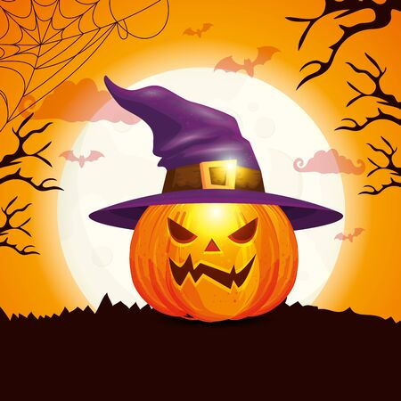pumpkin with hat witch in scene halloween vector illustration design Иллюстрация