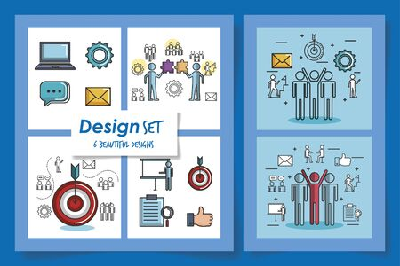 six designs of team work and icons vector illustration design