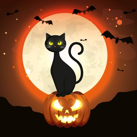 cat in pumpkin of halloween in the dark night vector illustration design Illusztráció