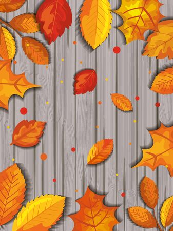 pattern of autumn with leafs in wooden illustration design