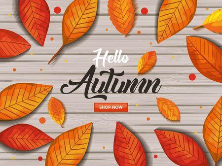 pattern hello autumn in wooden vector illustration design