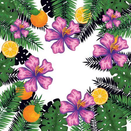 exotic leafs and flowers with oranges pattern vector illustration design Vektorgrafik