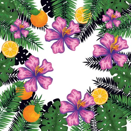 exotic leafs and flowers with oranges pattern vector illustration design Vettoriali