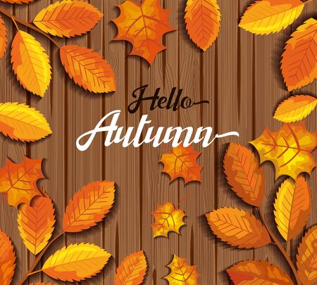pattern hello autumn in wooden illustration design