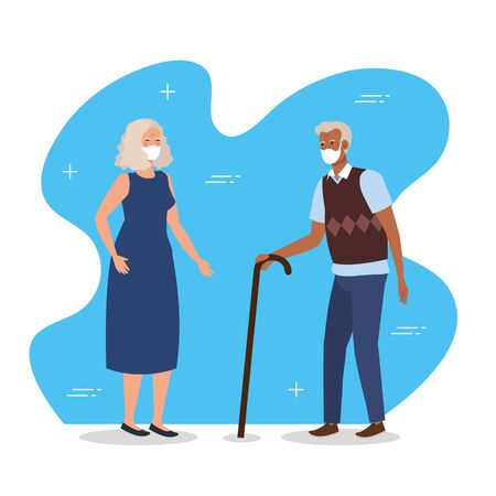 old couple with face mask and walking stick illustration design