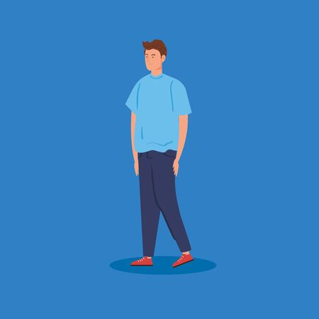 young man avatar character icon vector illustration design