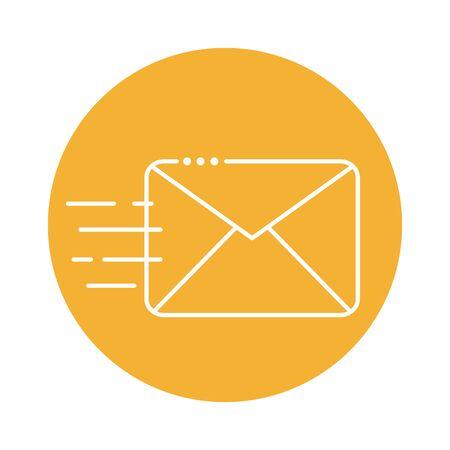 envelope communication block line style icon vector illustration design