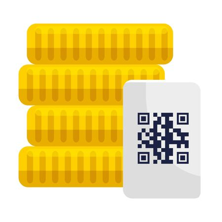 coins and qr code over paper design of technology scan information business price communication barcode digital and data theme Vector illustration