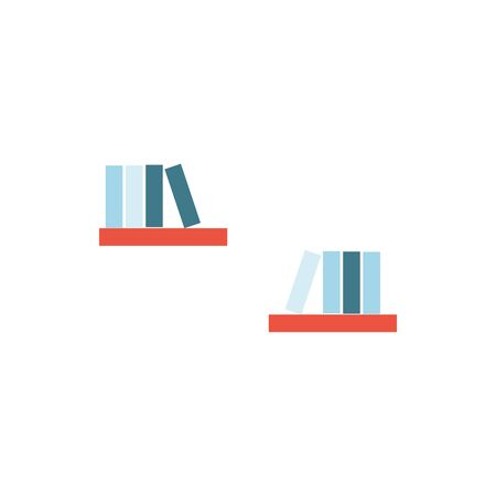 wooden shelfs with books furniture isolated icon vector illustration design