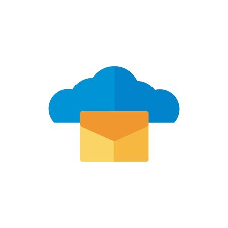 cloud computing with envelope flat style vector illustration design Ilustrace
