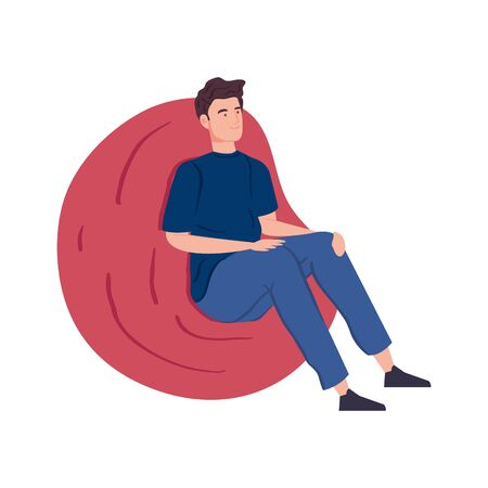 man sitting in pouf soft isolated icon vector illustration design