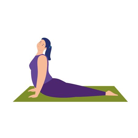 woman practicing yoga exercise, healthy lifestyle vector illustration design Vetores