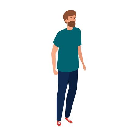 young man handsome with casual clothes isolated icon vector illustration design Illusztráció