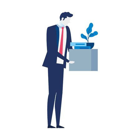 man unemployment concept, company worker holding stuff in box vector illustration design