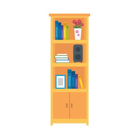 book shelves wooden furniture, literature, indoor object 向量圖像