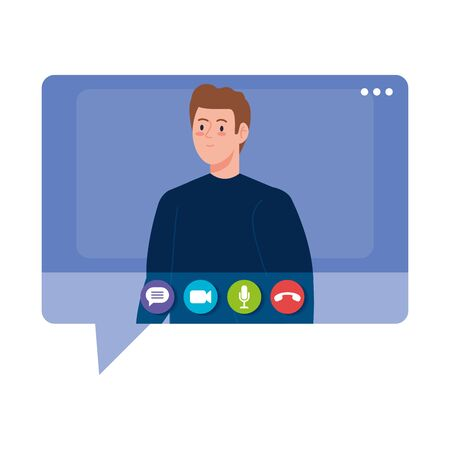 man talk in speech bubble, conference video call vector illustration design