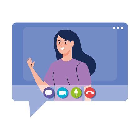 woman talk in speech bubble, conference video call vector illustration design Çizim