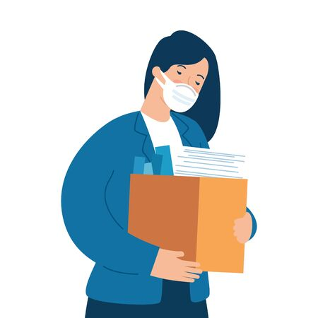 woman unemployment concept, company worker holding stuff in box, from coronavirus crisis covid 19 vector illustration design