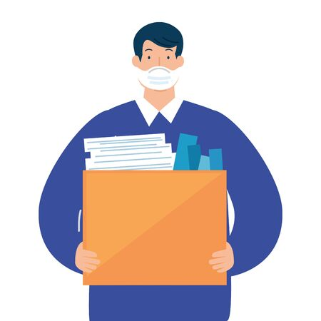 man unemployment concept, company worker holding stuff in box, from coronavirus crisis covid 19 vector illustration design