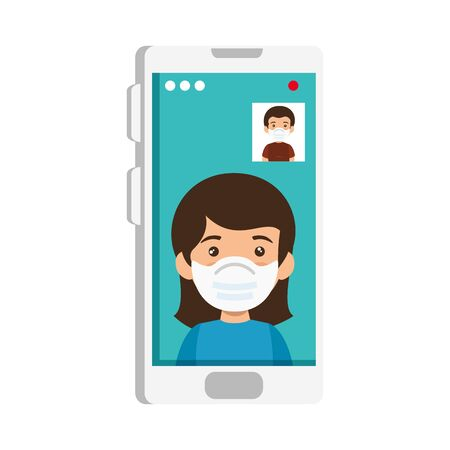 couple using face mask in video conference vector illustration design