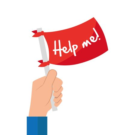 hand and flag with signboard help me isolated icon vector illustration design