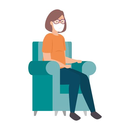 old woman with face mask sitting in couch vector illustration design