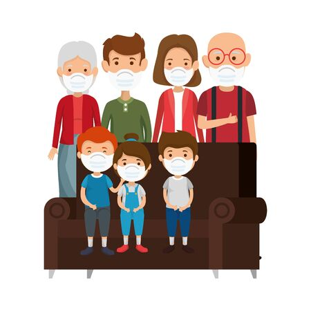 cute family using face mask with couch vector illustration design