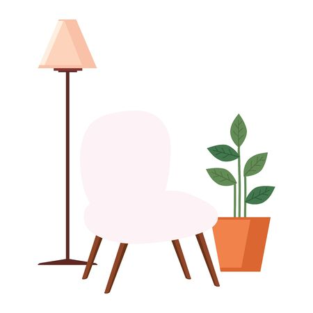 floor lamp with pot plant and chair vector illustration design Çizim