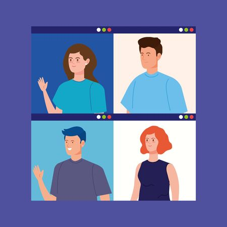group people in video conference vector illustration design