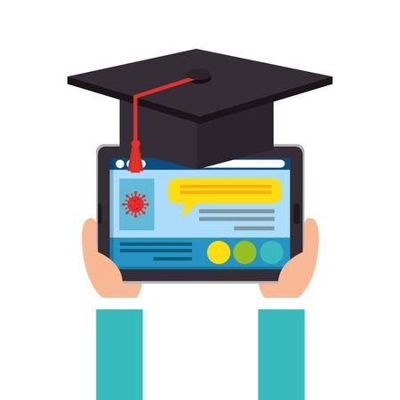 online education graduation with tablet device vector illustration design