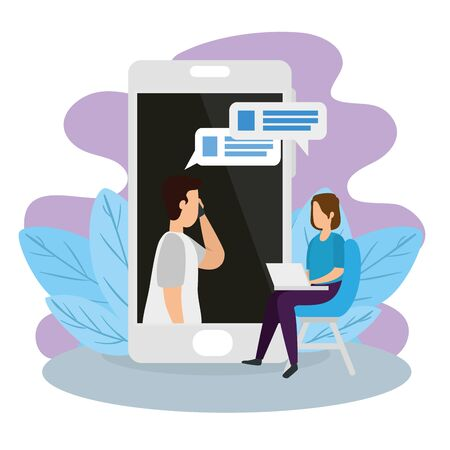 couple in video conference with smartphone and laptop vector illustration design