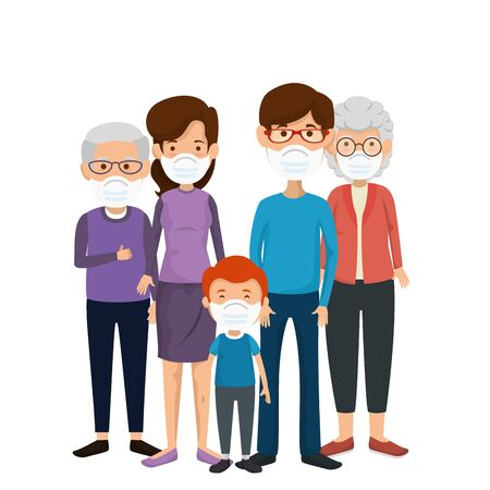 family members using face mask vector illustration design Illustration