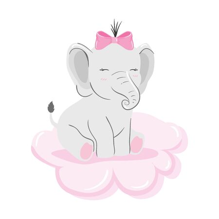 cute elephant female in cloud isolated icon vector illustration design