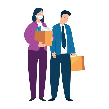 couple unemployment concept, company workers , from coronavirus crisis covid 19 vector illustration design
