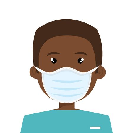 male afro paramedic using face mask isolated icon vector illustration design Illustration