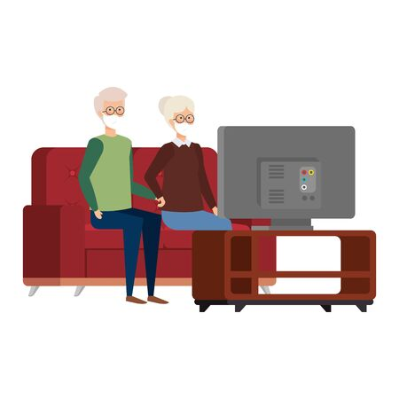 grandparents couple using face mask watching television vector illustration design