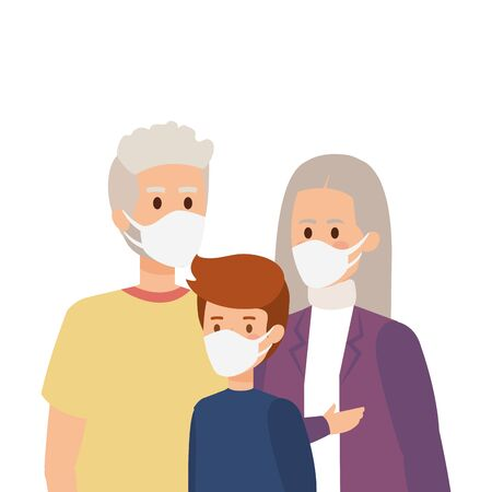grandparents with grandchild using face mask vector illustration design